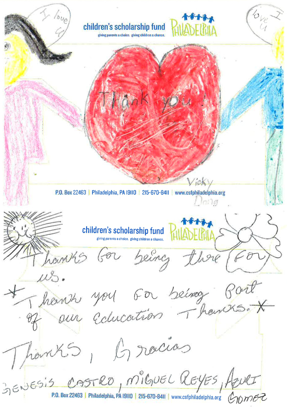 Children's Scholarship Fund Thank You Note